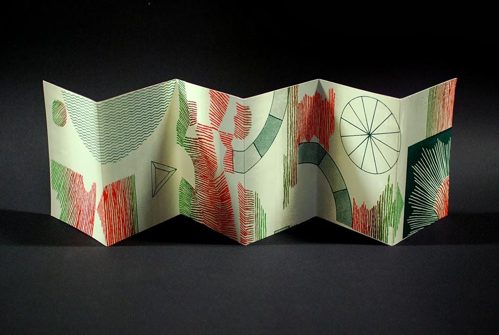"Milk/Flame, 2013  Alicia Nauta and Eunice Luk  Edition of 40  5.25"" x 28"", 12 Panels  Screenprinted accordion fold book"