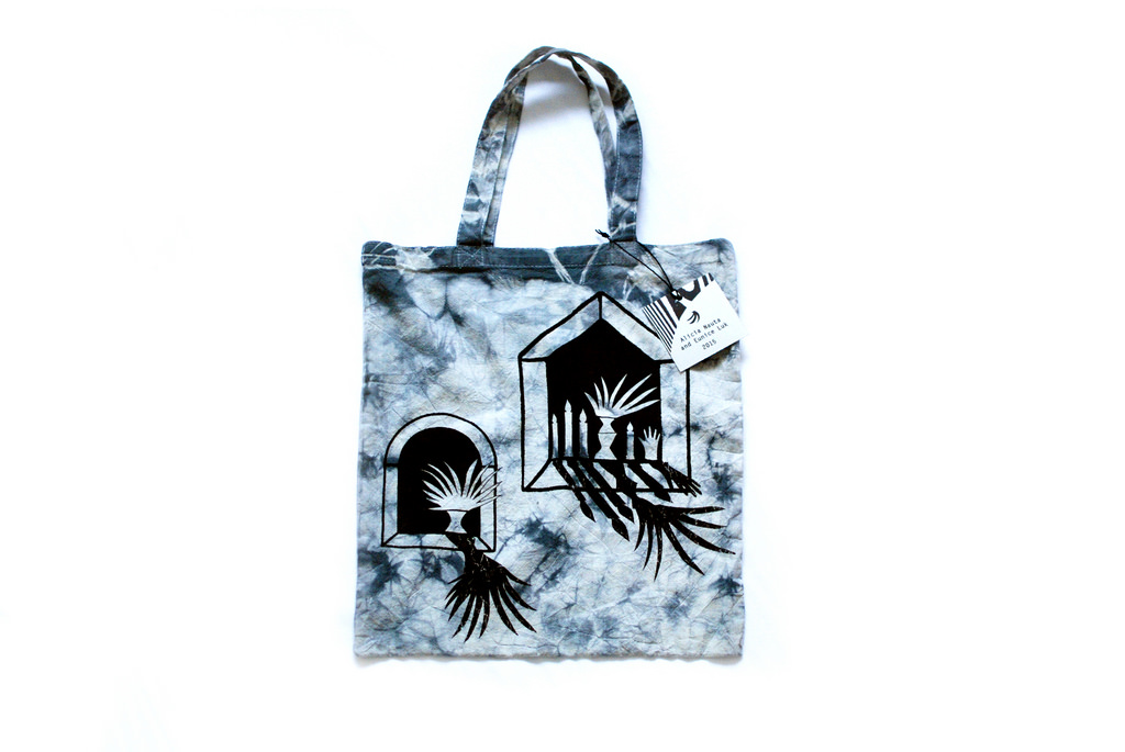 Plants in the window  Eunice Luk and Alicia Nauta  Screenprint on tie dyed canvas tote bag  2015