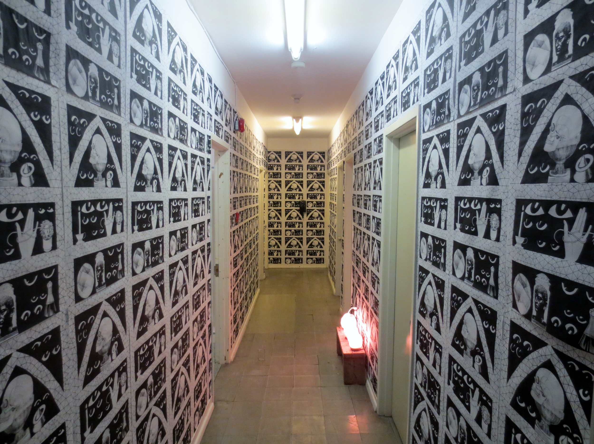 Ghost Hole Halloween, Gibraltar Point Toronto island  Screenprinted wallpapered hallway  2014