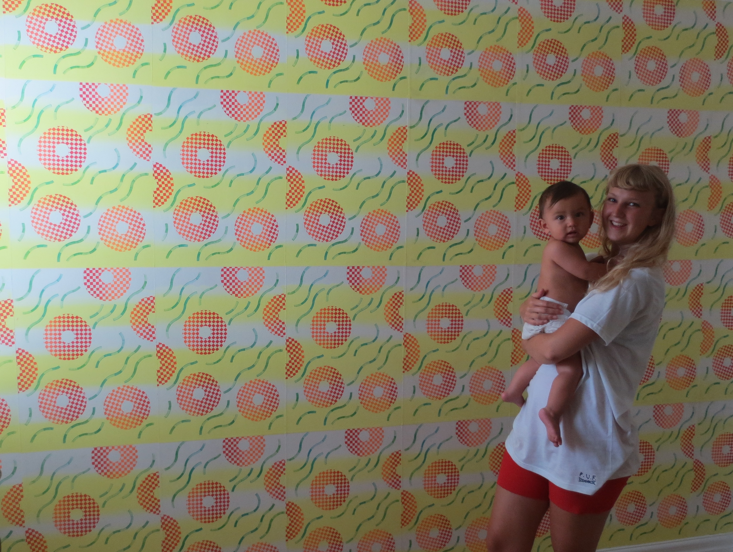 Mr. Baby wallpaper for Eliot  Screenprinted wallpaper wall in bedroom  2013 (permanent installation)