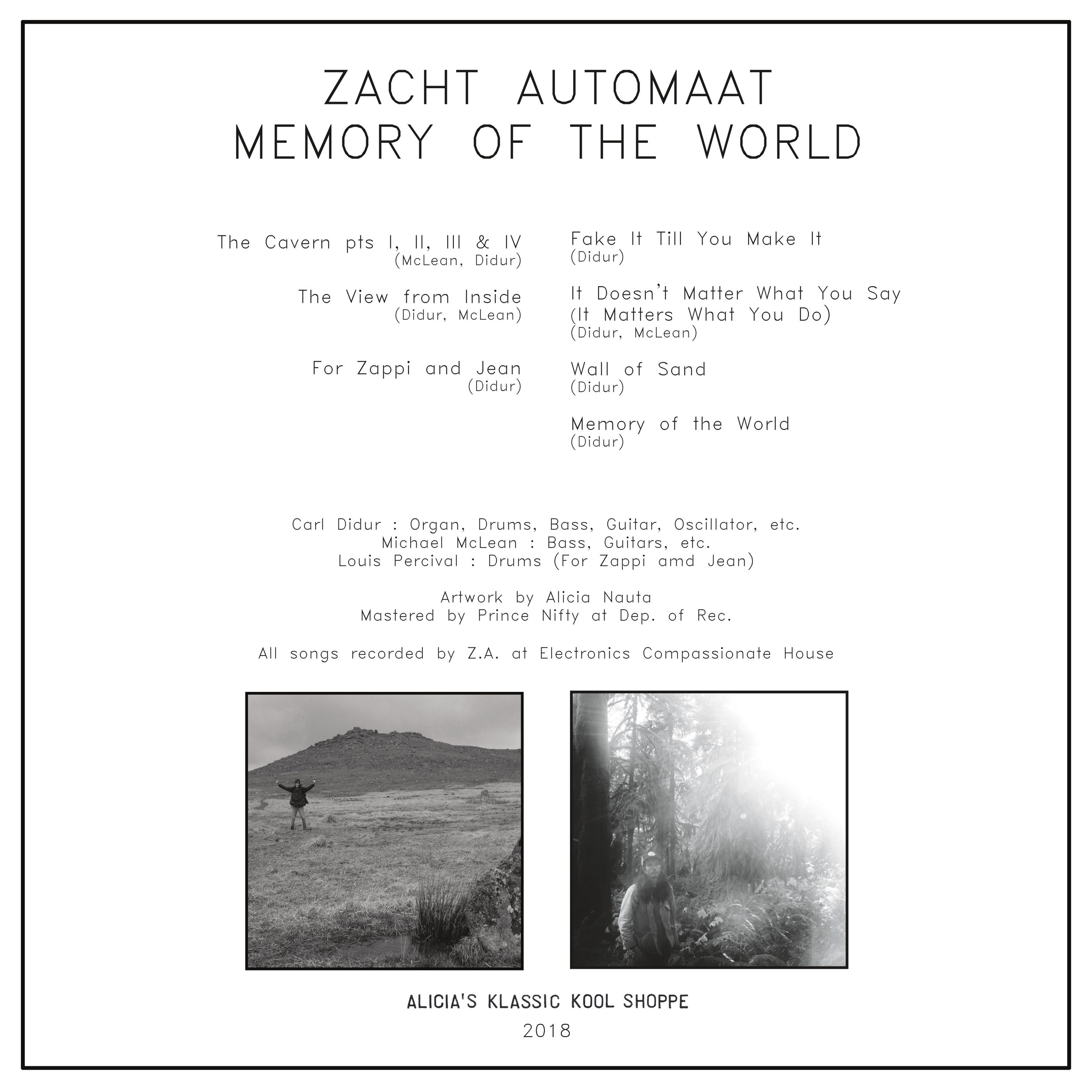 """back cover  Zacht Automaat, Memory of the World 12"""" LP  2018"""