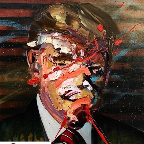 TRUMPOMANIA   Exhibition runs March 2- March 16th, 2017 Opening Reception Friday March 3rd 7-10pm  SALOMON ARTS TRIBECA 83 Leonard St  NYC, NY 10013  A Mixed Media International Group Exhibition featuring works by International artists in over 30 countries, including  Frans Smit (Africa), Vasily Grino (Belarus), Charlotte Hamson (Canada), Otro Captore and Cromomaniacio (Chile), Juan Travieso (Cuba), Jay Ole (Denmark), Maurice Marty (France), Alex Diamond (Germany), Cacao Rocks (Greece), Tyler (India), Icy & Sot (Iran), Repas (Kazakhstan), Chervi(Kirgystan), Ashekman (Lebanon), Tlisza Jaurique (Mexico), Alona Ojog (Moldova), Olek (Poland), Sen2 (Puerto Rico), Sergey Mironenko (Russia), Marcos Martinez (Spain), Mikael Takacs (Sweden), Amr Fahed (Syria), Richie Culver (UK), Roman Gronav (Ukraine), Vicky Barranguet (Uruguay), Zofia Bogusz (USA), Michael Mararian (USA), Alison Mosshart (USA), William Quigley and Ben Moon (USA), Marcus Zilliox (USA), Beatriz Ramos (Venezuela), Mazher Nizar (Yemen)  Presented by: Curator19.90 & Melissa McCaig- Welles   Curated by Vika Latysheva (Russia) Melissa McCaig- Welles (USA) and Charlotte Hamson (Canada)    PRESS RELEASE FOLLOWS:  NEW YORK, NY — Curators Victoria Latysheva, Charlotte Hamson and Melissa McCaig-Welles present TRUMPOMANIA, an international exhibition surrounding the topic of Donald Trump and the recent Republican administration in the US. The exhibition will open with a reception on Friday March 3rd corresponding with the opening of The NY Armory Show and Armory Arts Week, to a worldwide audience.  TRUMPOMANIA will feature one artist from over thirty countries, each exhibiting one work illustrating their interpretation of the election of Donald Trump and the recently appointed Republican administration in The US. The exhibition will create a dialogue about what this presidency means to artists around the world and their viewpoint on how this will affect the future of all nations.
