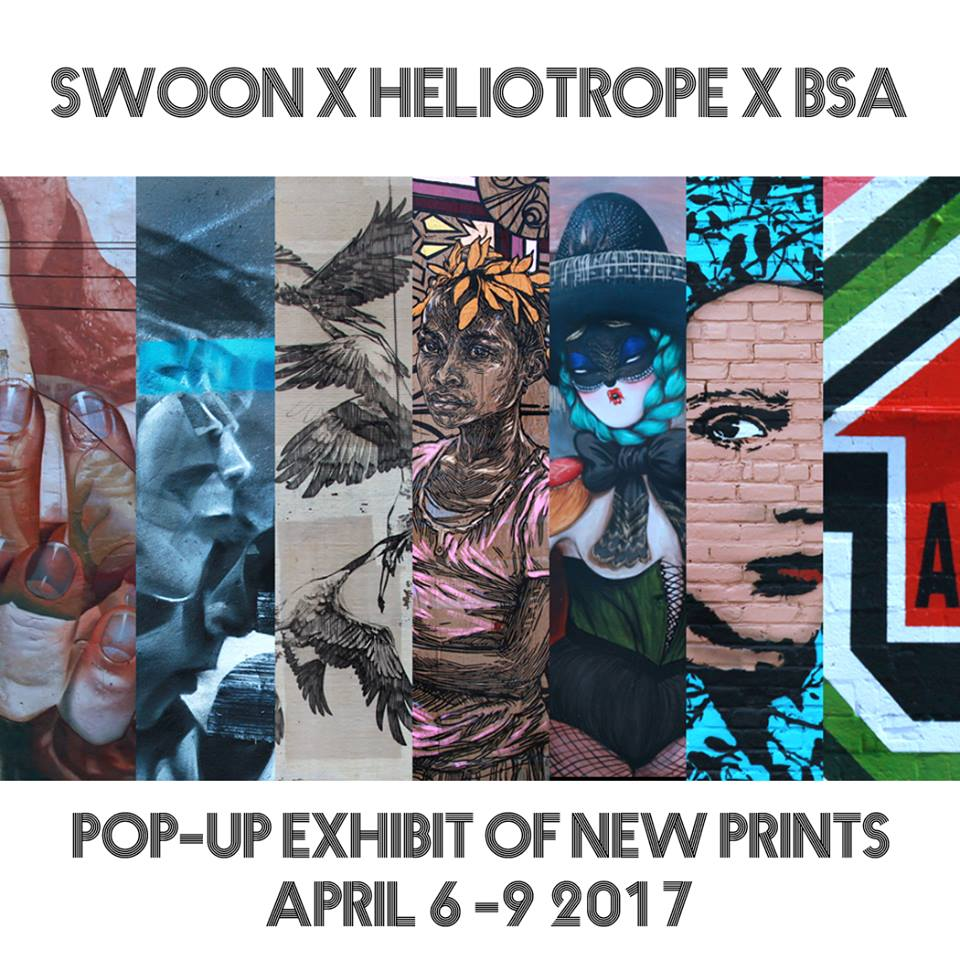 Join us for a Pop-Up Exhibit of new prints curated by  Brooklyn Street Art . Heliotrope Foundation has joined forces with BSA to release a limited edition print series by six world-renowned street artists, and original sketches by  Swoon Studio . Artists featured: case_maclaim  Faith47   Icy And Sot   Li-Hill   Vanessa Alice   Above fanpage Sure to be collectors items, the works will be for sale at our pop-up gallery in Chelsea, starting at $50 apiece. Proceeds from the sale will support the cultural and education programs of the Heliotrope Foundation in North Braddock, PA and Haiti. Opening Reception: Thursday, April 6 from 6-9pm. Beats and refreshments will be provided. RSVP to: Valerie@heliotropefoundation.org Gallery Location: 88 ½ Seventh Avenue (between 15th & 16th St.) New York, NY Hours: April 7-9, 11am - 6pm