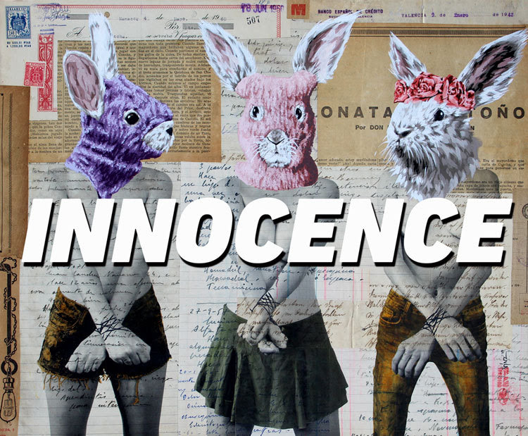 """""""INNOCENCE"""" Exhibition by Vinz Feel Free     Curated by BSA and DK Johnston   The  Marcy Project Gallery in Williamsburg Brooklyn is proud to present """"INNOCENCE"""", a solo exhibition by street artist  Vinz Feel Free on Saturday November 4th, curated by the editors of  Brooklyn Street Art (BSA) and  DK Johnston .  Flying in from Valencia for his premiere Brooklyn solo show, the wild-life street surrealist debuts a 20- piece collection of new works featuring his uniquely original nude photo-painting hybrids for """"INNOCENCE"""", opening November 4th.  """"INNOCENCE"""" features new painting, collages, mixed media works, and screen prints of his signature orchestrated photo shoots, thematically inspired directly by global art activism and artist/activists like FEMEN and Pussy Riot. Never afraid to address larger political and social issues with his work such as global rampant capitalism, state violence, and natural-gas fracking, the contemporary artist returns this time to our innate innocent state of being.   A special custom Vinz Feel Free Sticker Pack will be awarded to the first 40 people through the door.   Saturday, November 4, 2017  6 pm – 10 pm  The Marcy Project   275 South 2nd Street    Brooklyn, NY 11211"""