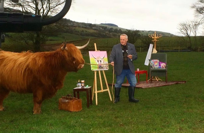 Scottish artist Steven Brown visiting Woodneuk