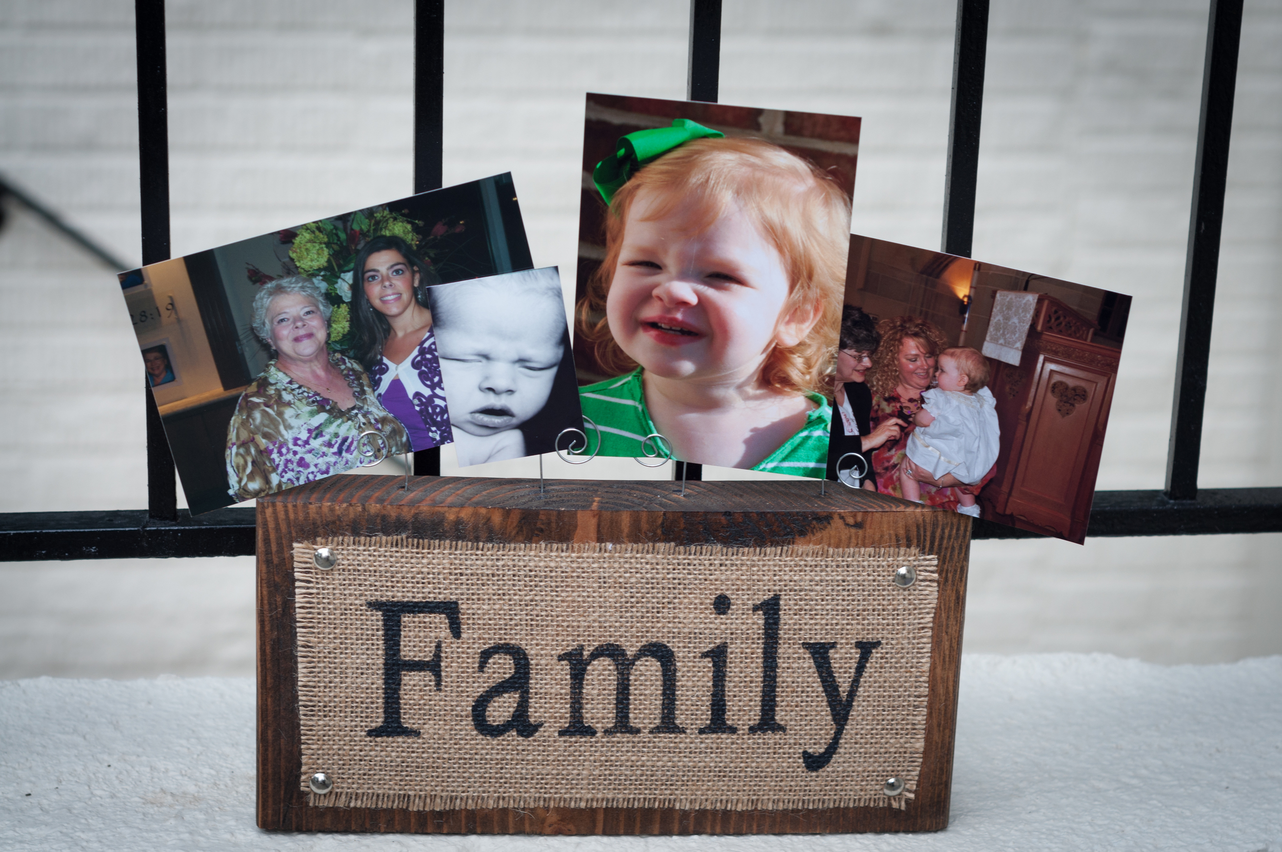 Family Burlap Photo Display