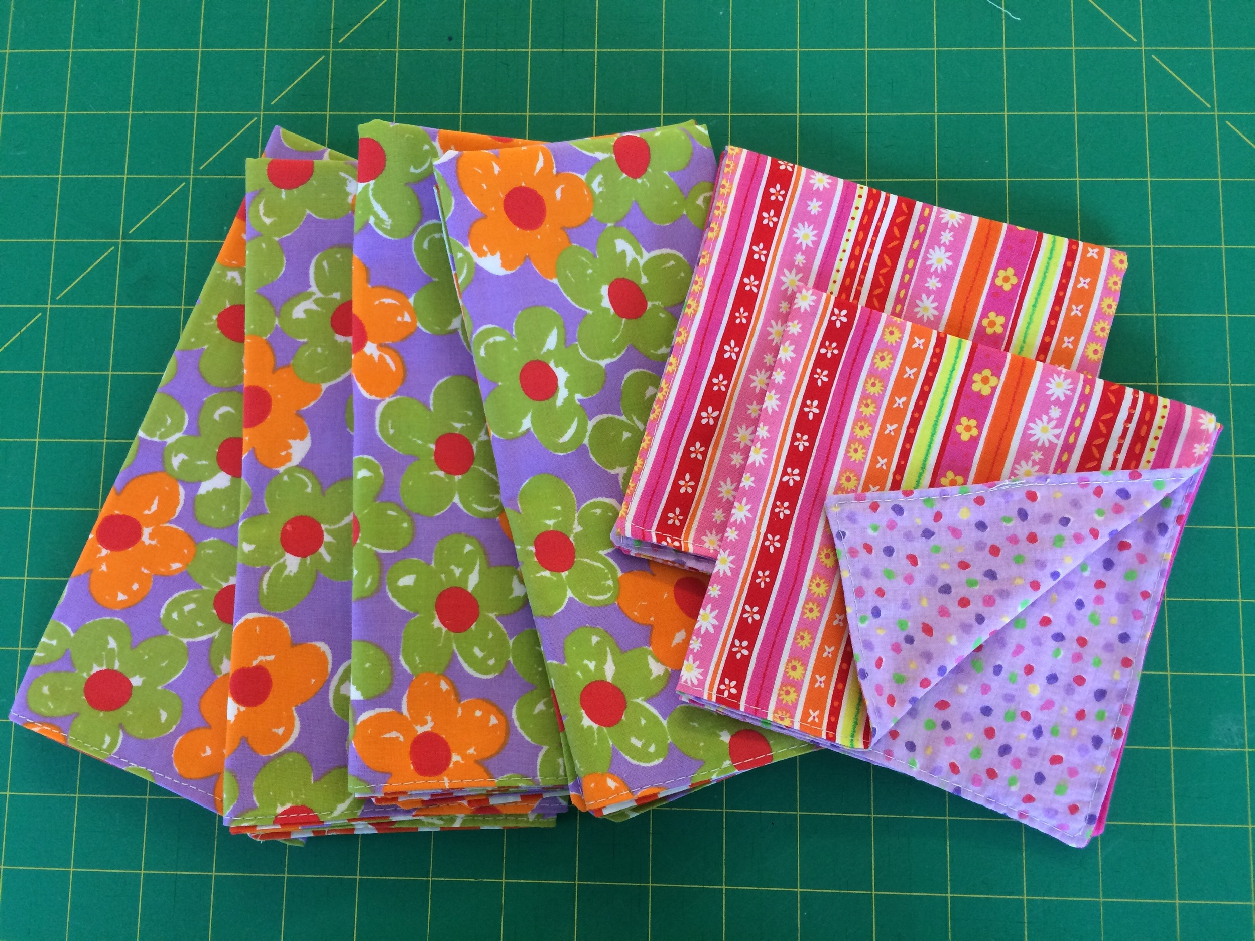 "Cut smaller fabric pieces (I cut 12.5"" squares) for cocktail napkins!"