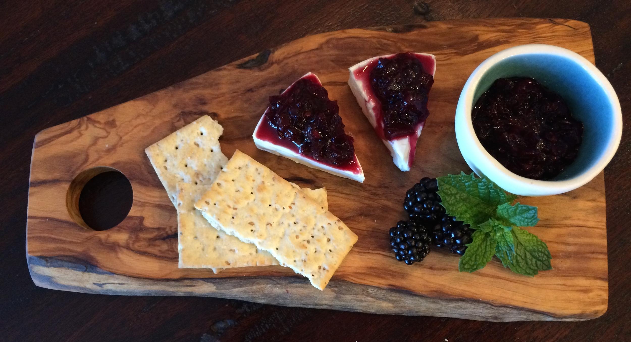 Blackberry Chutney on cream cheese wedges