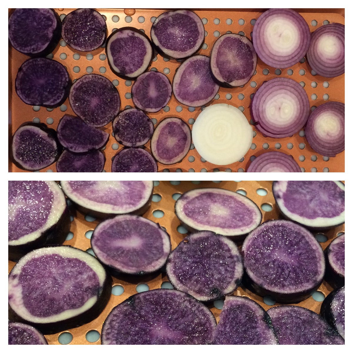 Purple potatoes and red onions