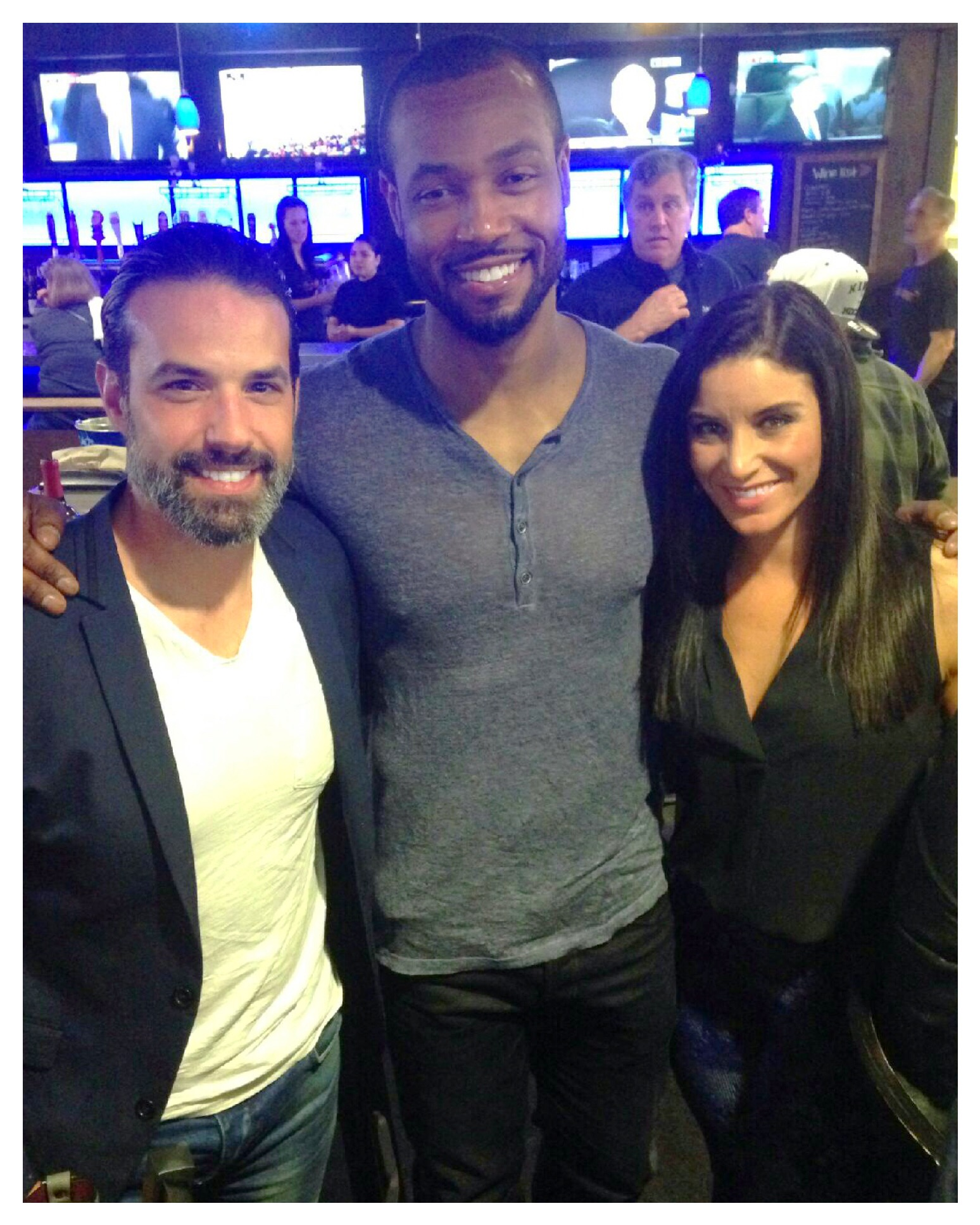 In photo Left to Right: Chris Ferraro - Retired NHL athlete who notably played for the NY Rangers with his twin brother Peter! Isaiah Mustafa - Actor and former NFL practice squad athlete who is the face of Old Spice Commercials! Me -You know me already.