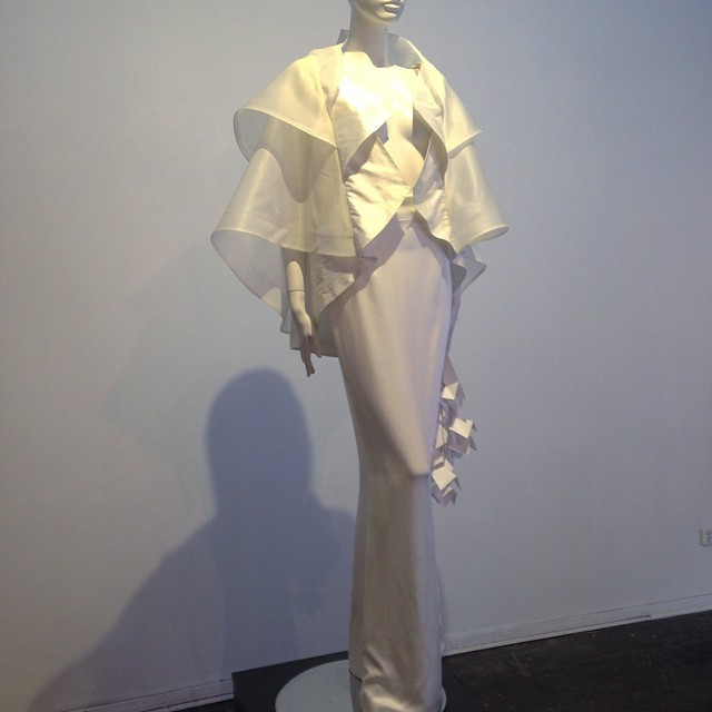 Paloma 'cubist' cape. Concept to Creation exhibition as part of VAMFF Cultural Program 2015. #alexsiscstar #vamff #vamff2015 #novacancygallery #silk #white #gown #bride #evening #fashion