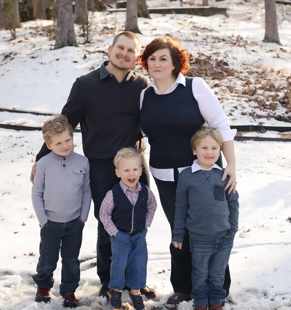 Stacy and her husband Matt, and their three boys.