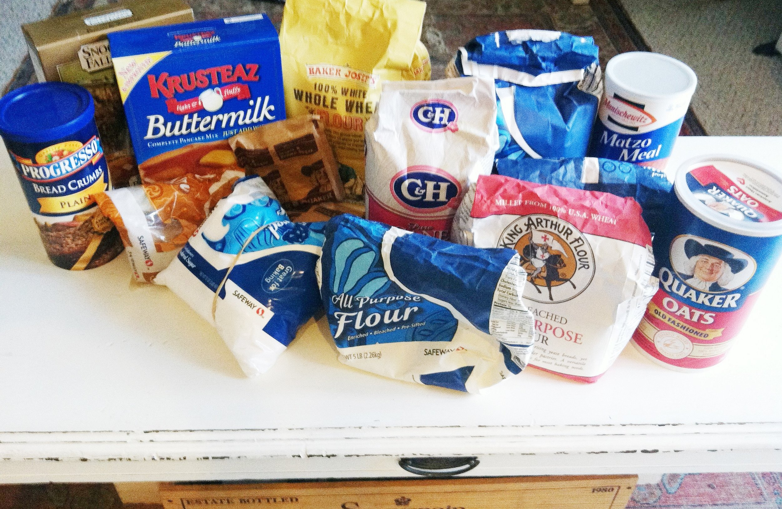 Actual photo of a fraction of my pantry clean out: the baking cabinet.
