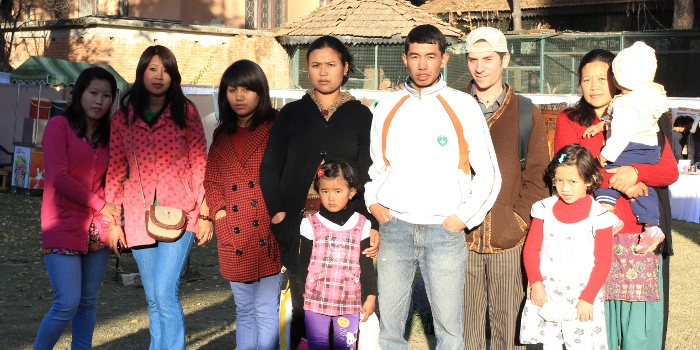 Urja and his family with Dave and some other friends a the Kutumba concert at the Mala Hotel in Kathmandu on New Year's Eve.