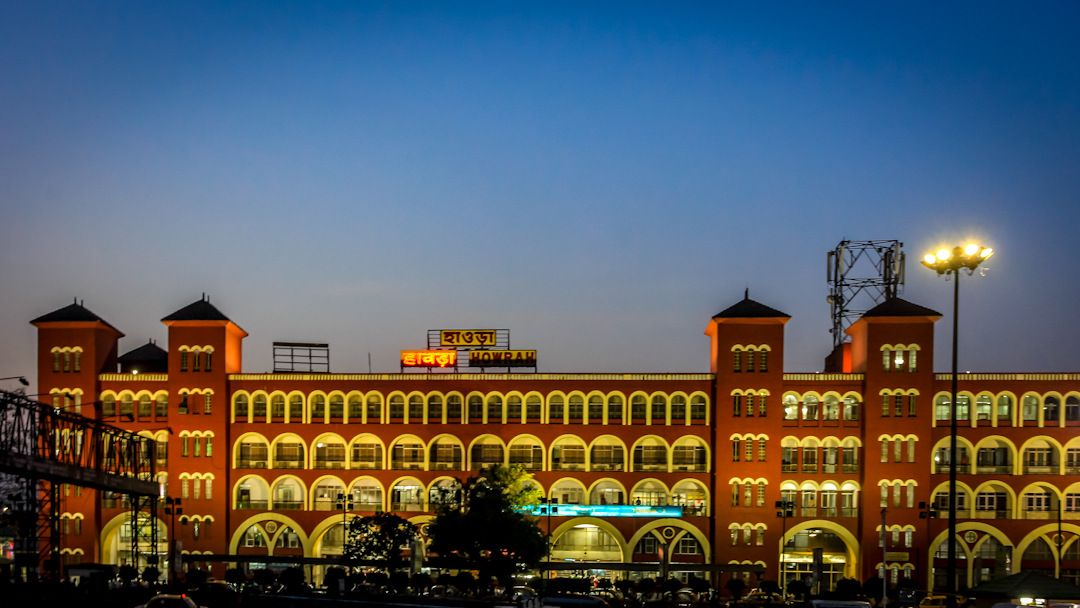 Howrah Station in Kolkata at night. Howrah is one of the busiest train stations in India