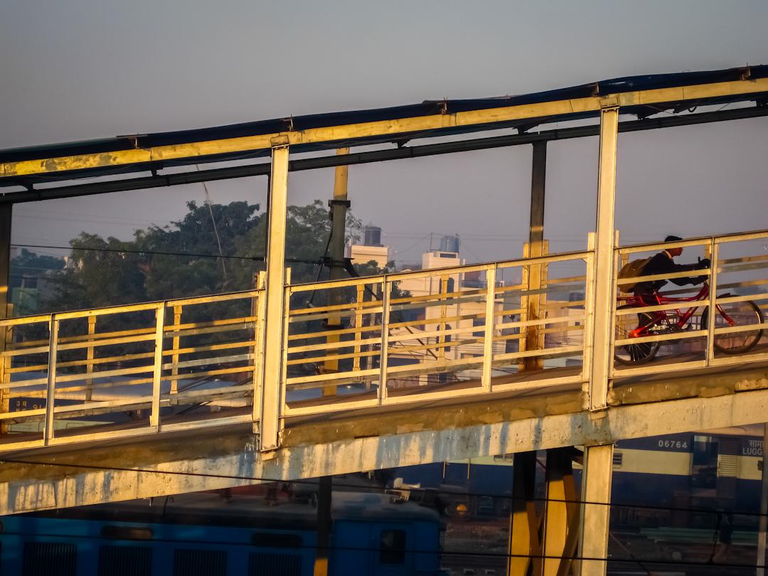 Early morning scene at the train station in Agra, Uttar Pradesh