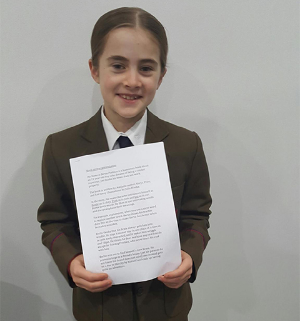 This is the very clever Frances who received an outstanding result for the book review she gave to her teacher and classmates at her primary school.