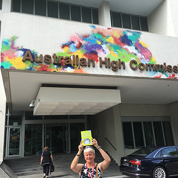 Bertie visits the Australian High Commission Singapore where he meets an Australian Diplomat and she takes Bertie home to read to her children!