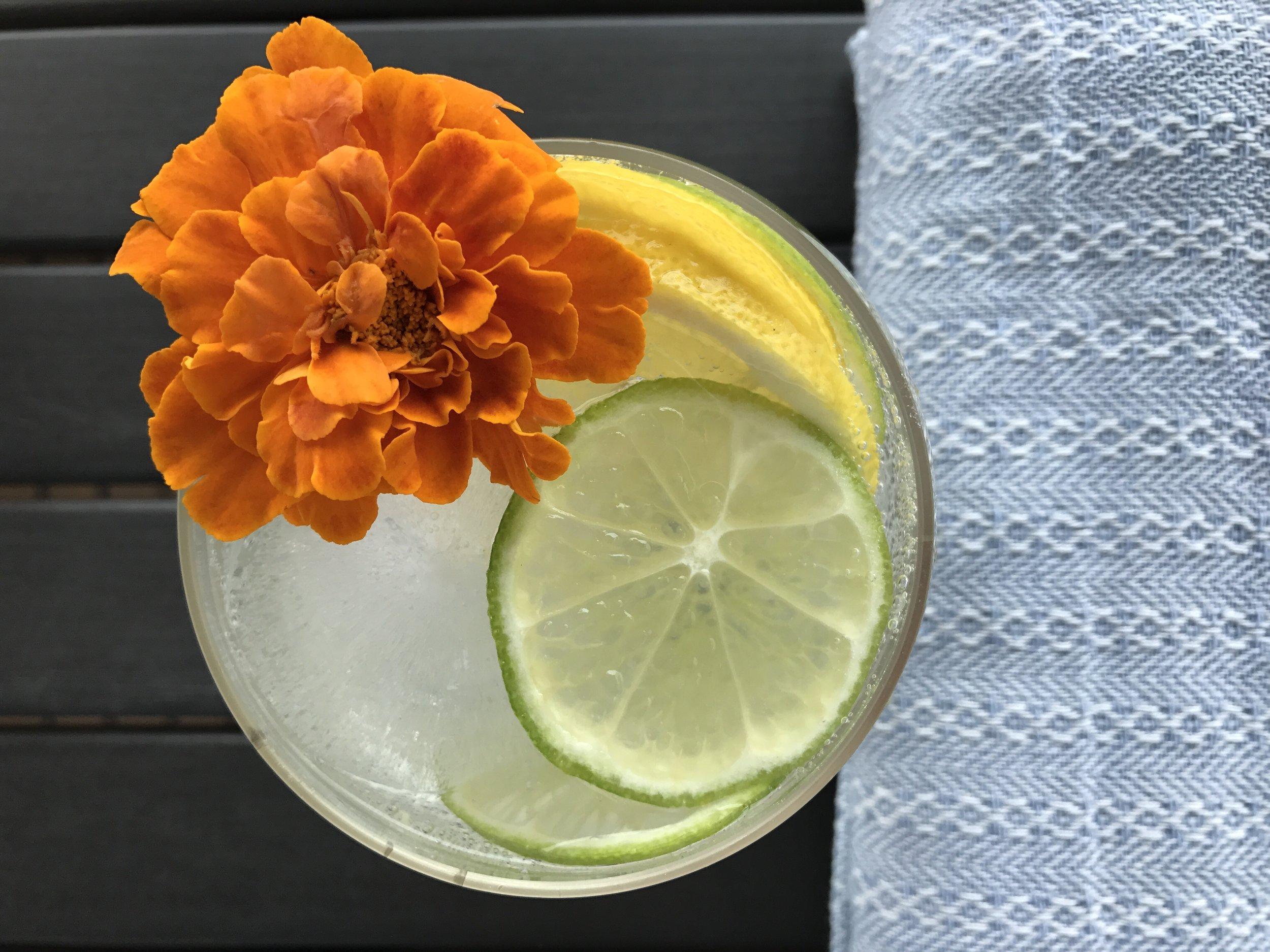 Lemon or lime (or mixed!) La Croix bubbles with freshly sliced lemon & lime.