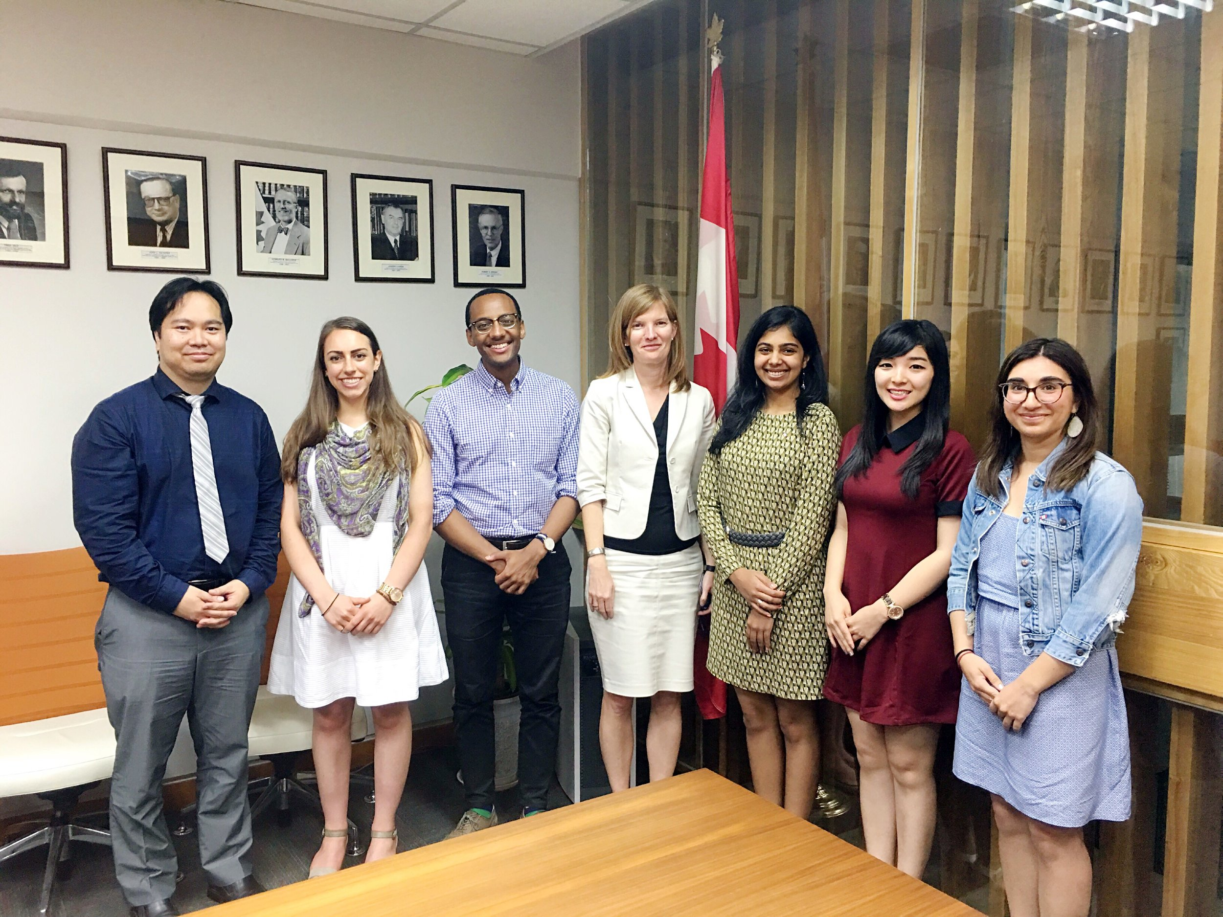 Deputy Head of Mission Mrs. Cindy Termorshuizhen _ Head of Public Affairs section Mr. Jose Sia with delegates at Canadian Embassy (Beijing 2016).jpg