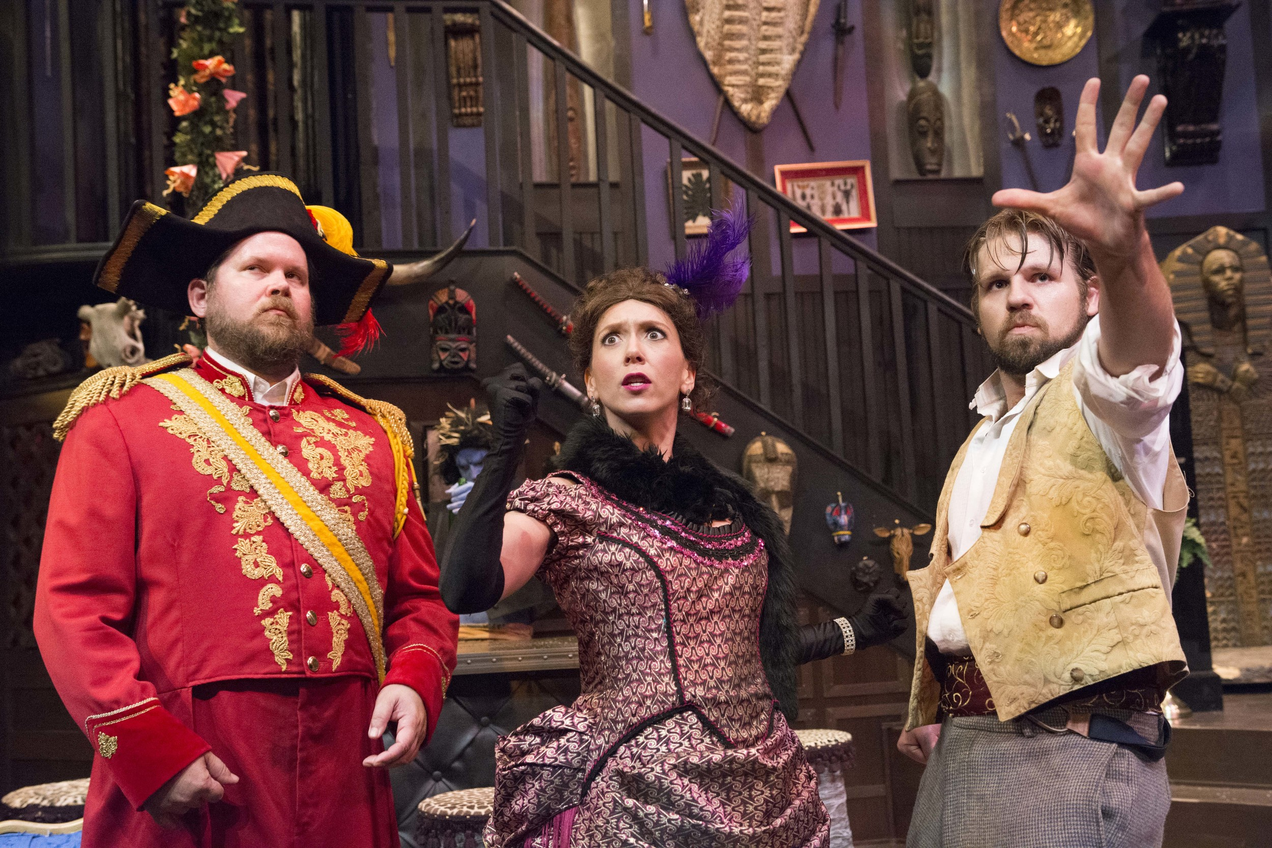 "Harry Percy (Peter Ooley, left), Phyllida Spotte-Hume/Countess Glamorgan (Jessica Scott, Center), and Lucius Fretway (Brandon Osero, Right) star in ""The Explorers Club"""