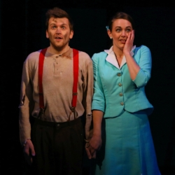 """Austin Stole and Becca Hart in """"Urinetown"""""""