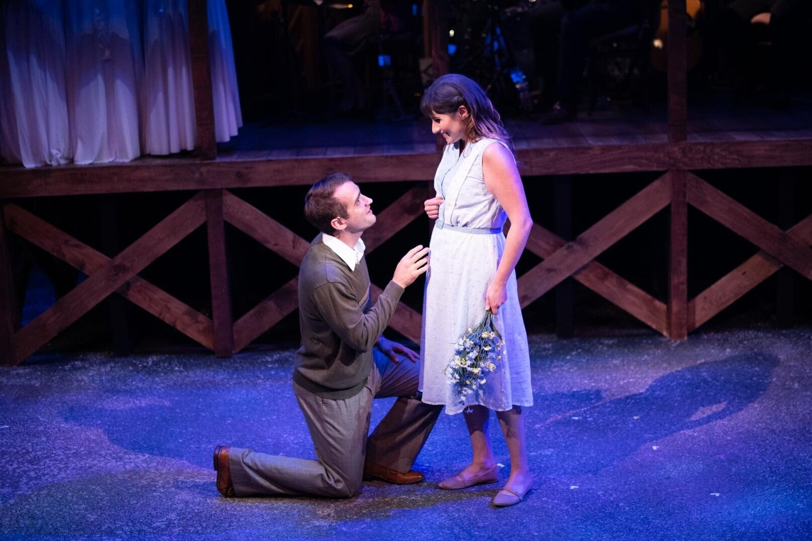 Chris Paulson (Jimmy Ray) and Katie Strom Rozanas (Alice) in BRIGHT STAR. [Photo credit: Twin Cities Headshots]