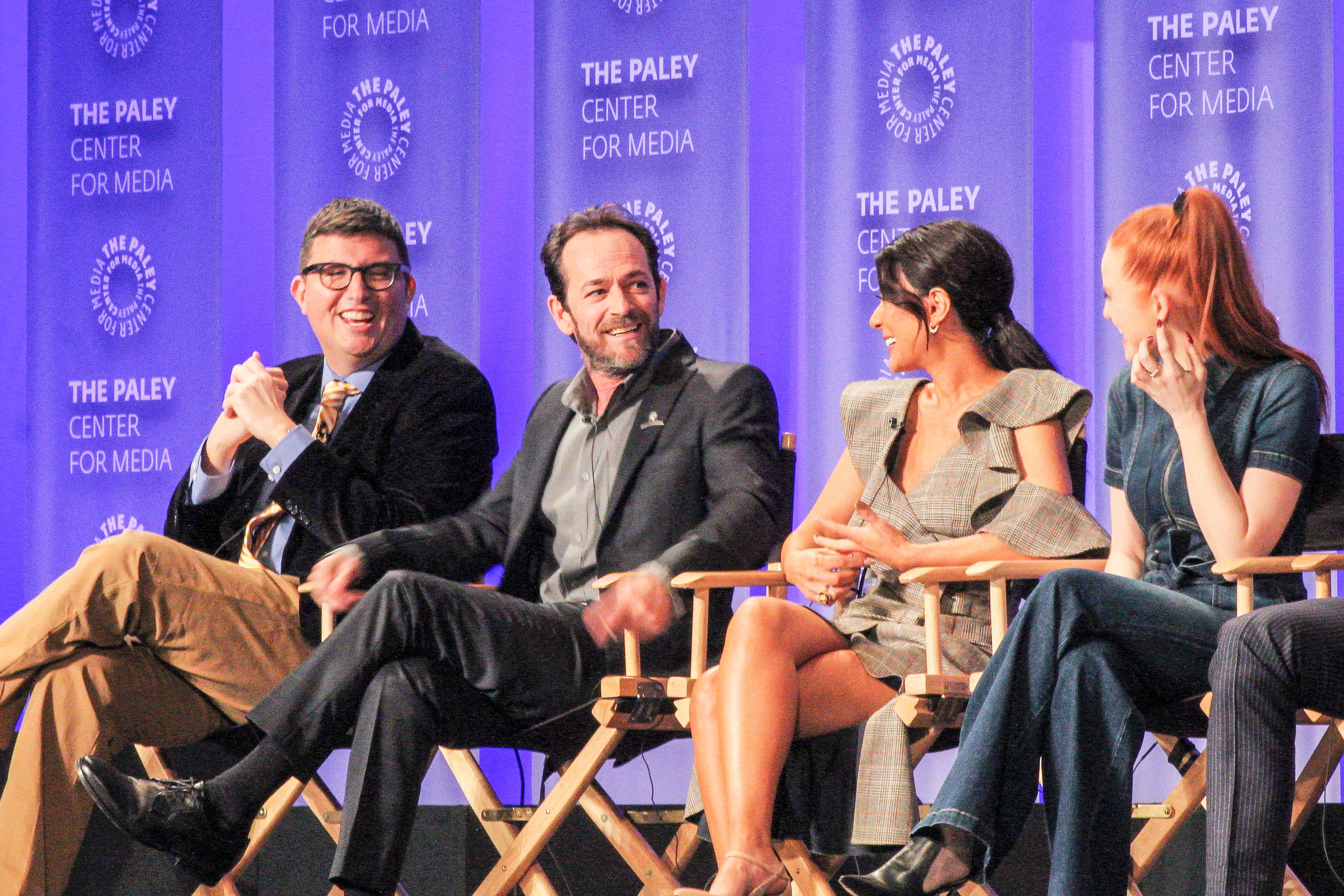 from left to right: Roberto Aguirre-Sacasa (show runner and executive producer), luke perry (fred), Marisol Nichols (Hermione), Madelaine Petsch (Cheryl)