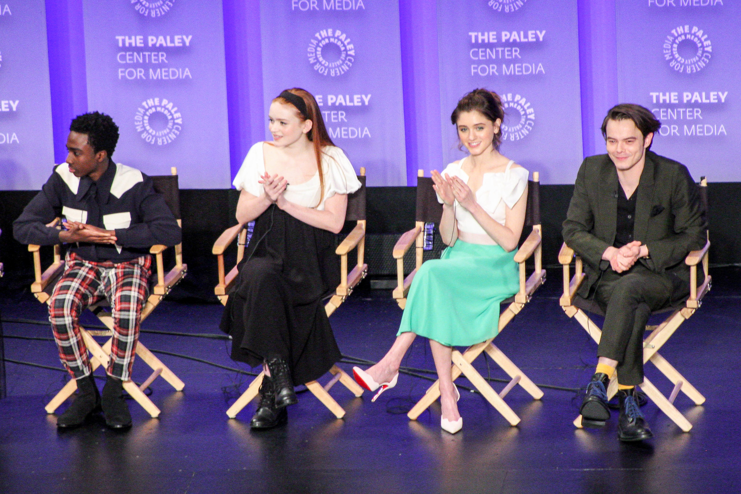 from left to right: Caleb McLaughlin (Lucas Sinclair), Sadie Sink ('Mad' Max Mayfield), Natalia Dyer (Nancy Wheeler), and Charlie Heaton (Jonathan Byers)
