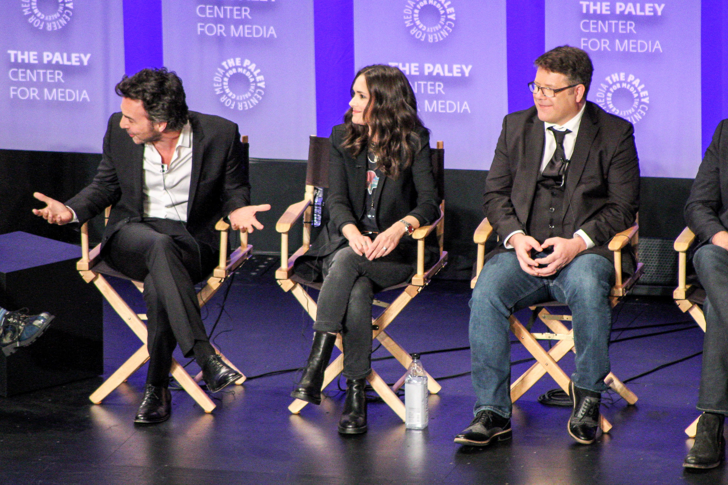 from left to right: executive producer and director Shawn Levy, Winona Ryder (Joyce Byers), and Sean Astin (Bob Newby)