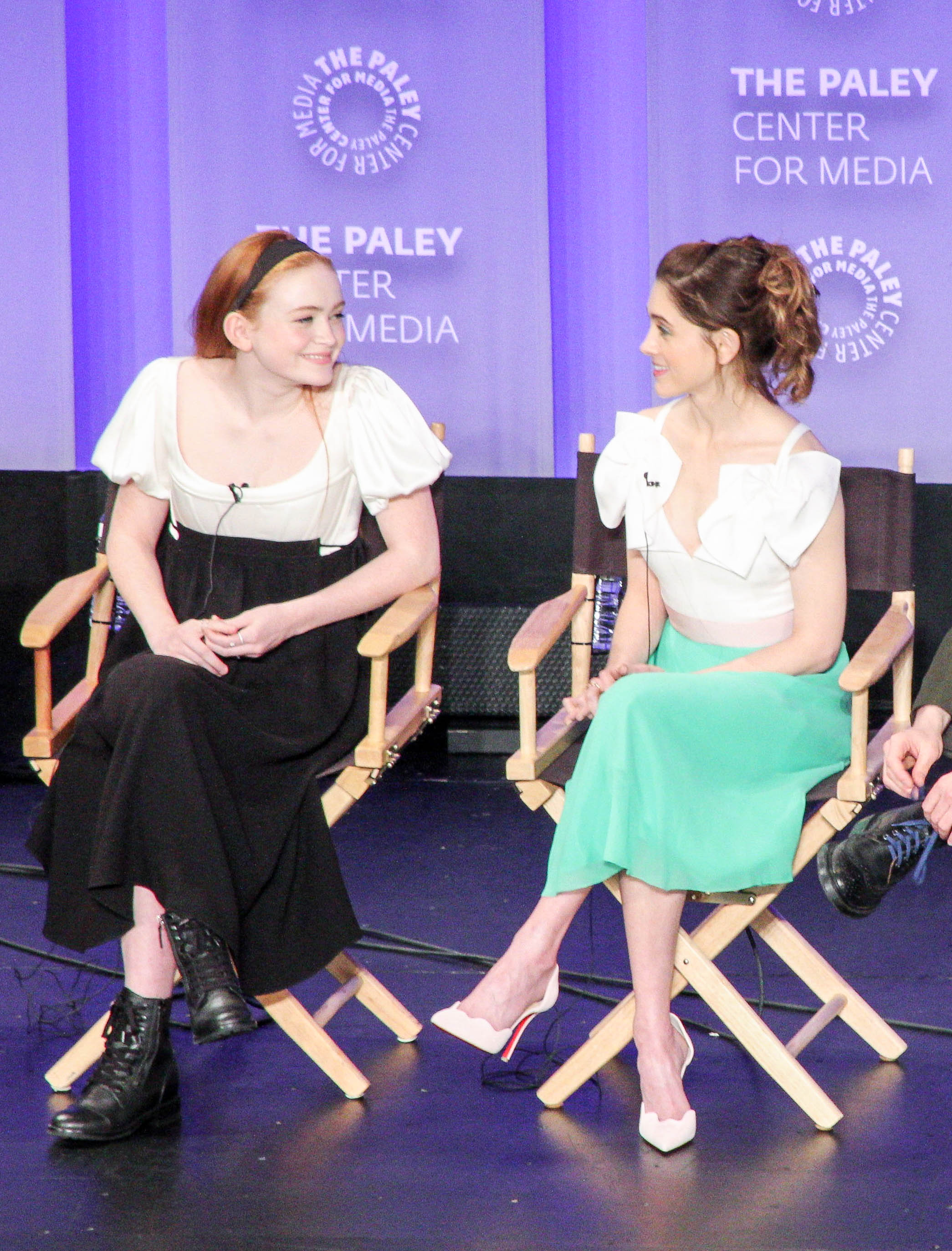 from left to right: Sadie Sink ('Mad' Max Mayfield), and Natalia Dyer (Nancy Wheeler)