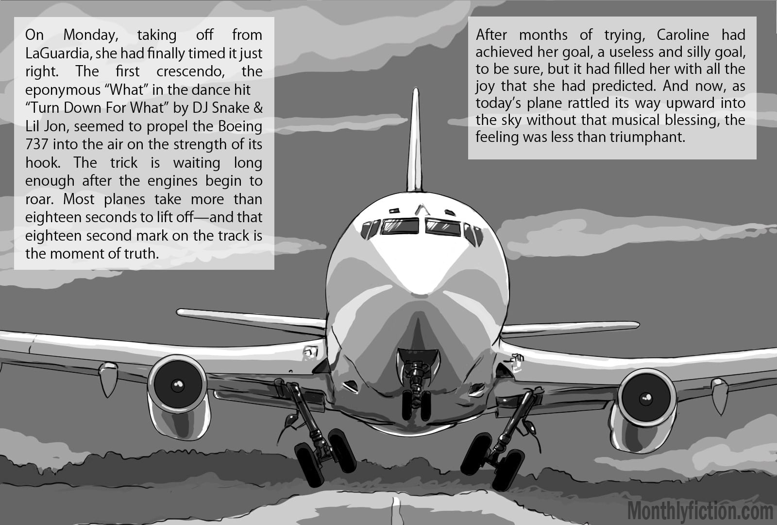 Monthly Fiction Takeoffs and landings page 2 illustration illustraded story