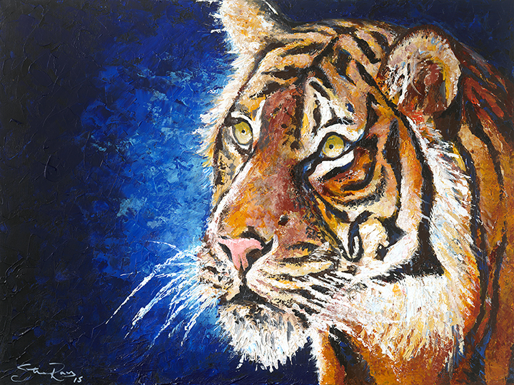 Acrylic Tiger on Canvas 36x48in.