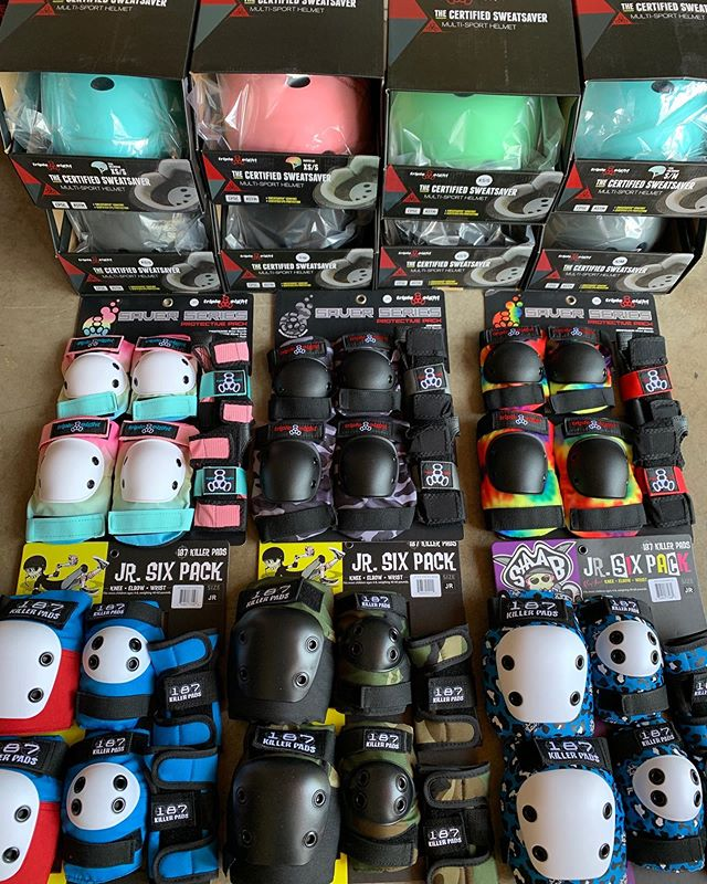 So much new gear in! Fully stocked with @triple8nyc @187killerpads and @protec. New boards coming in next week too.