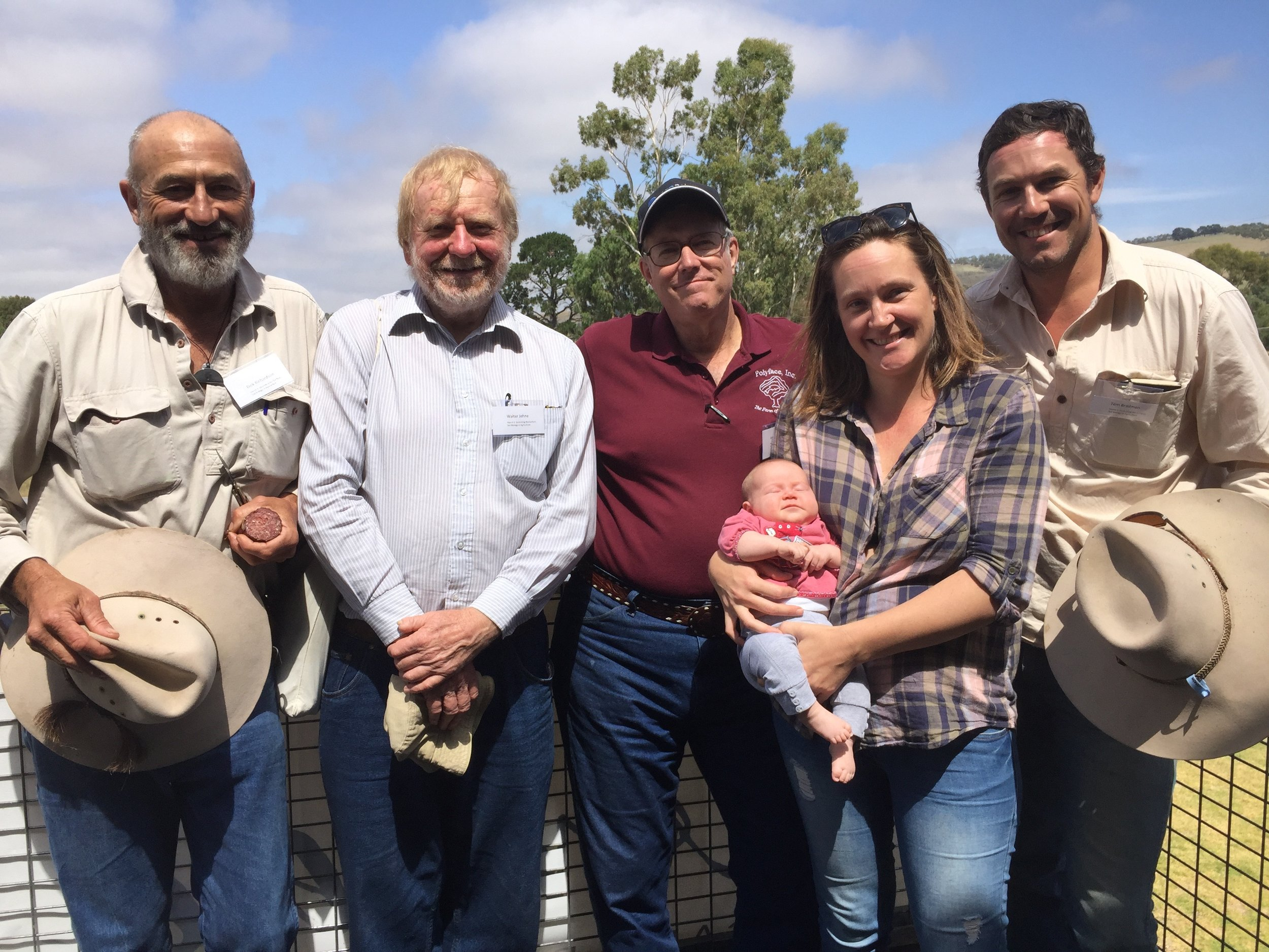 Above: Dick Richardson, Walter Jehne, Joel Salatin, Baby Laura Bradman, Verity Slee and Tom Bradman.  The farm walk was jointly hosted by the Ranges to River Natural Resources Management Group, SA Murray-Darling Basin Natural Resources Management (NRM) Board, the Adelaide and Mount Lofty Ranges NRM Board and the Kangaroo Island NRM Board with funding from the Australian Government's National Landcare Programme, NRM Levies and the Regional Landcare Facilitator Programme.