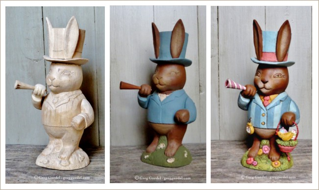 Greg Guedel Easter Bunny wood carving
