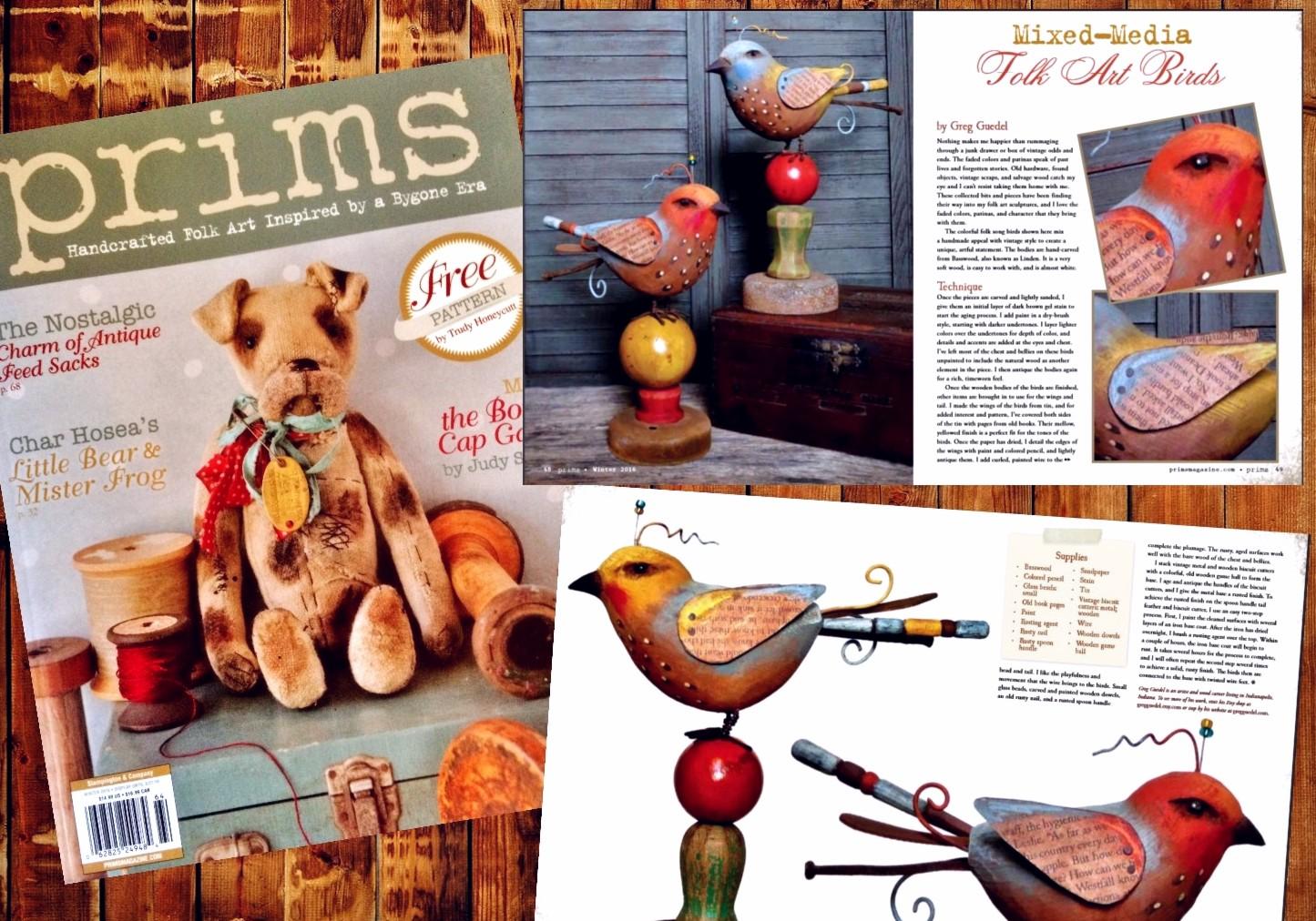 Greg Guedel folk art bird assemblages. Prims magazine winter 2016 issue