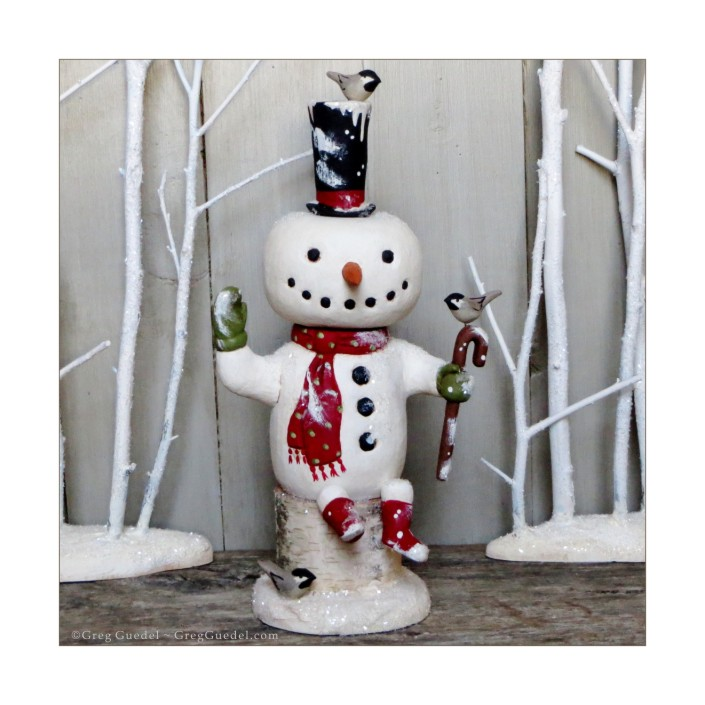 Snowman wood carving by Greg Guedel