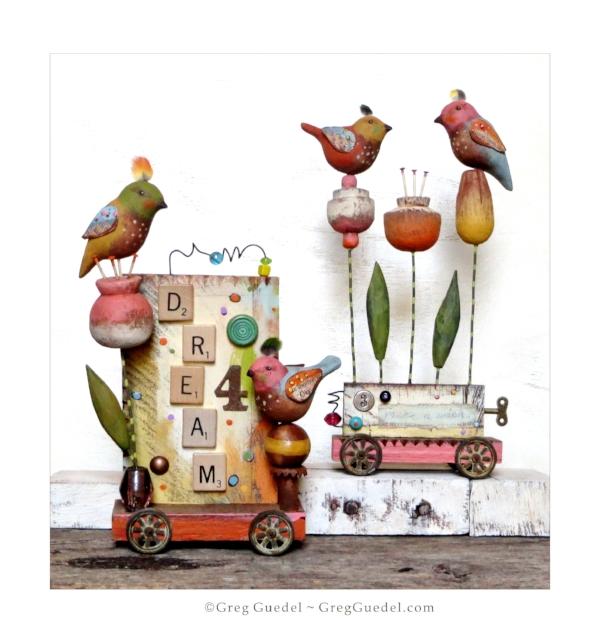 Greg Guedel Studio folk art assemblage bird sculptures