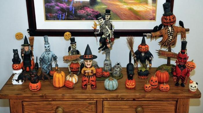 Greg Guedel Halloween wood carvings