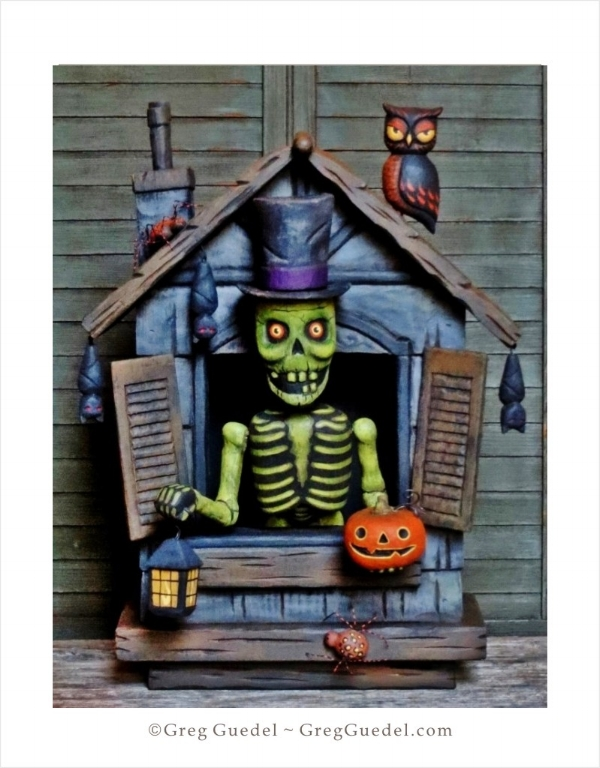 Greg Guedel Halloween Haunted House wood carving