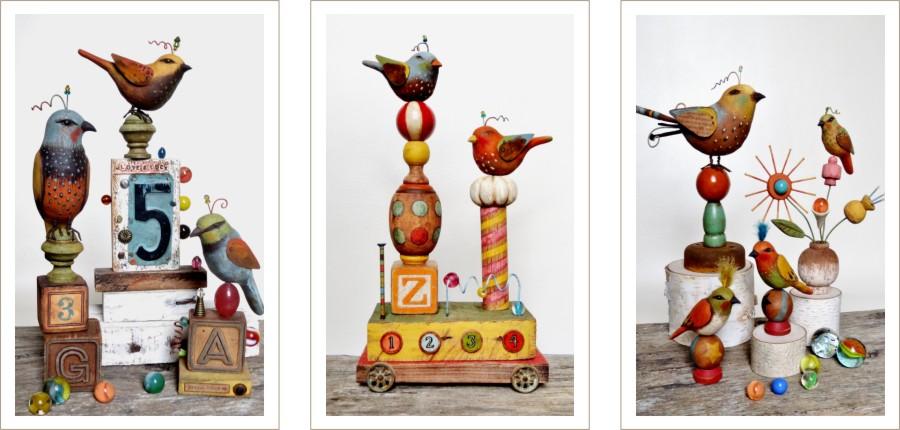 Greg Guedel folk art birds