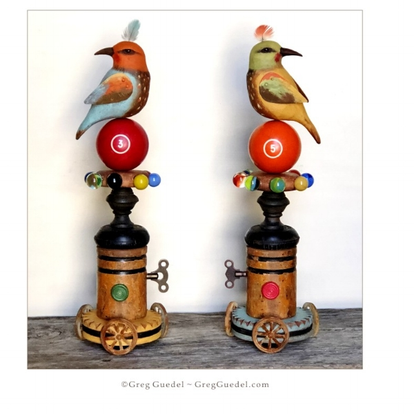 Folk art bird assemblage ~ Greg Guedel Studio.JPG