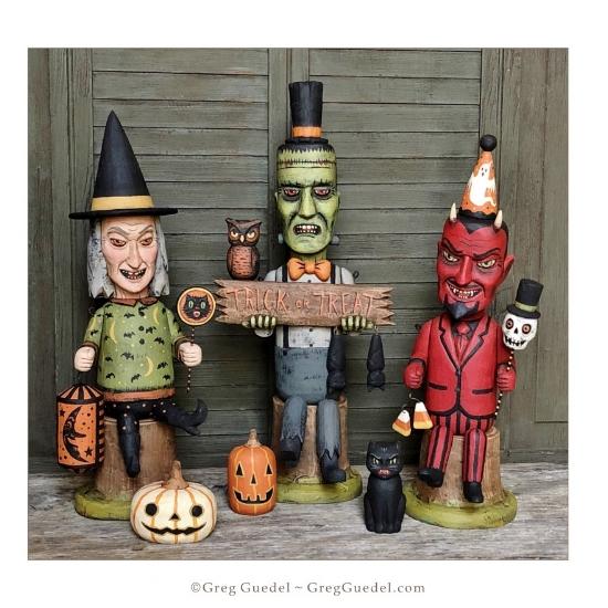 Greg Guedel Halloween wood carvings Trick or Treat Trio.JPG