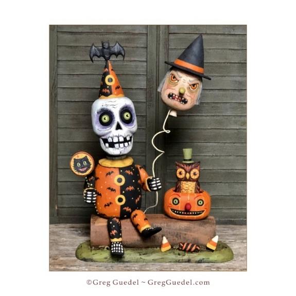Halloween Skeleton ~ wood carving by Greg Guedel.JPG