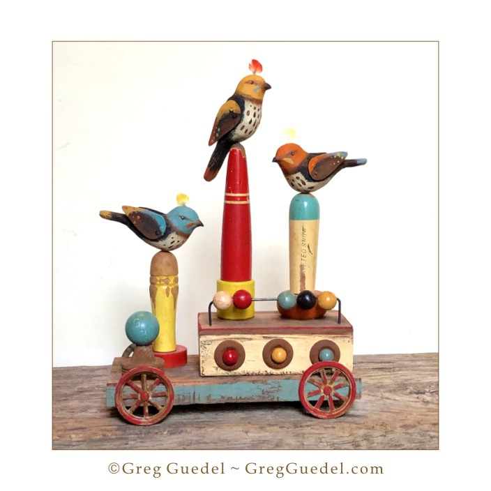 Folk bird wood carving assemblage by Greg Guedel.JPG