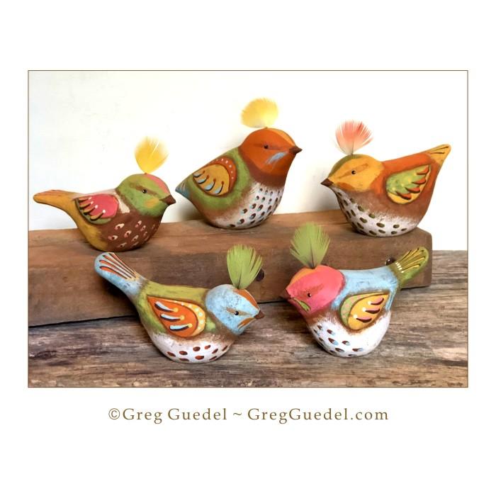 Folk art bird wood carvings by Greg Guedel.JPG