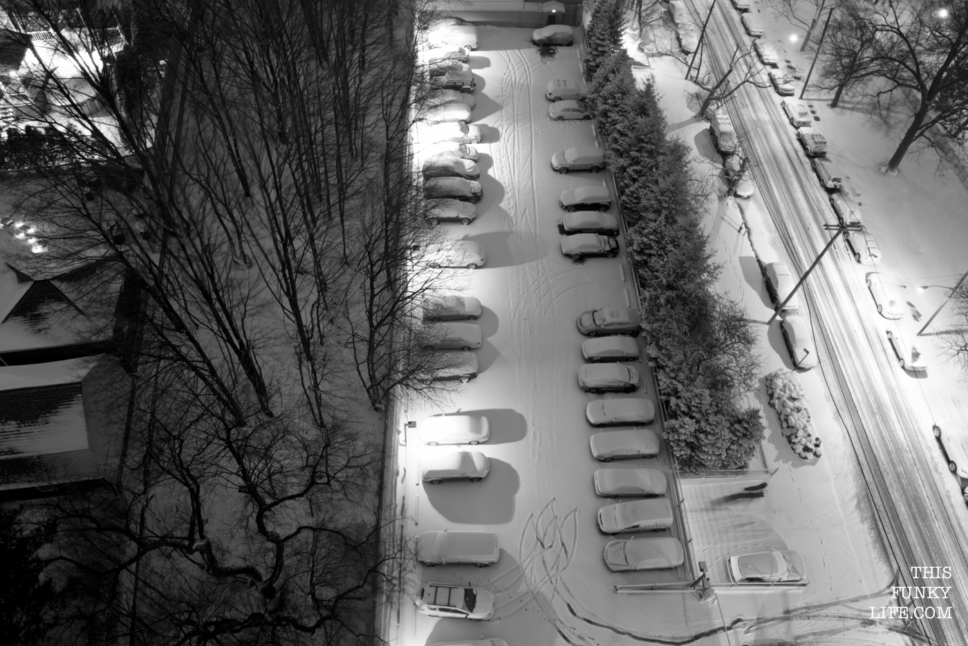 Cars covered in snow in a parking garage