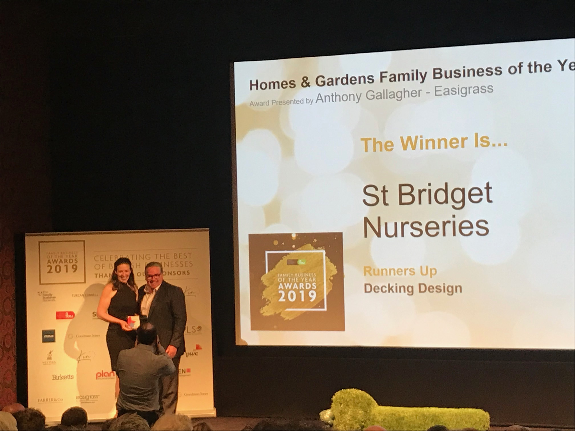 Tammy Falloon receiving Homes & Gardens Family Business of the Year award 2019