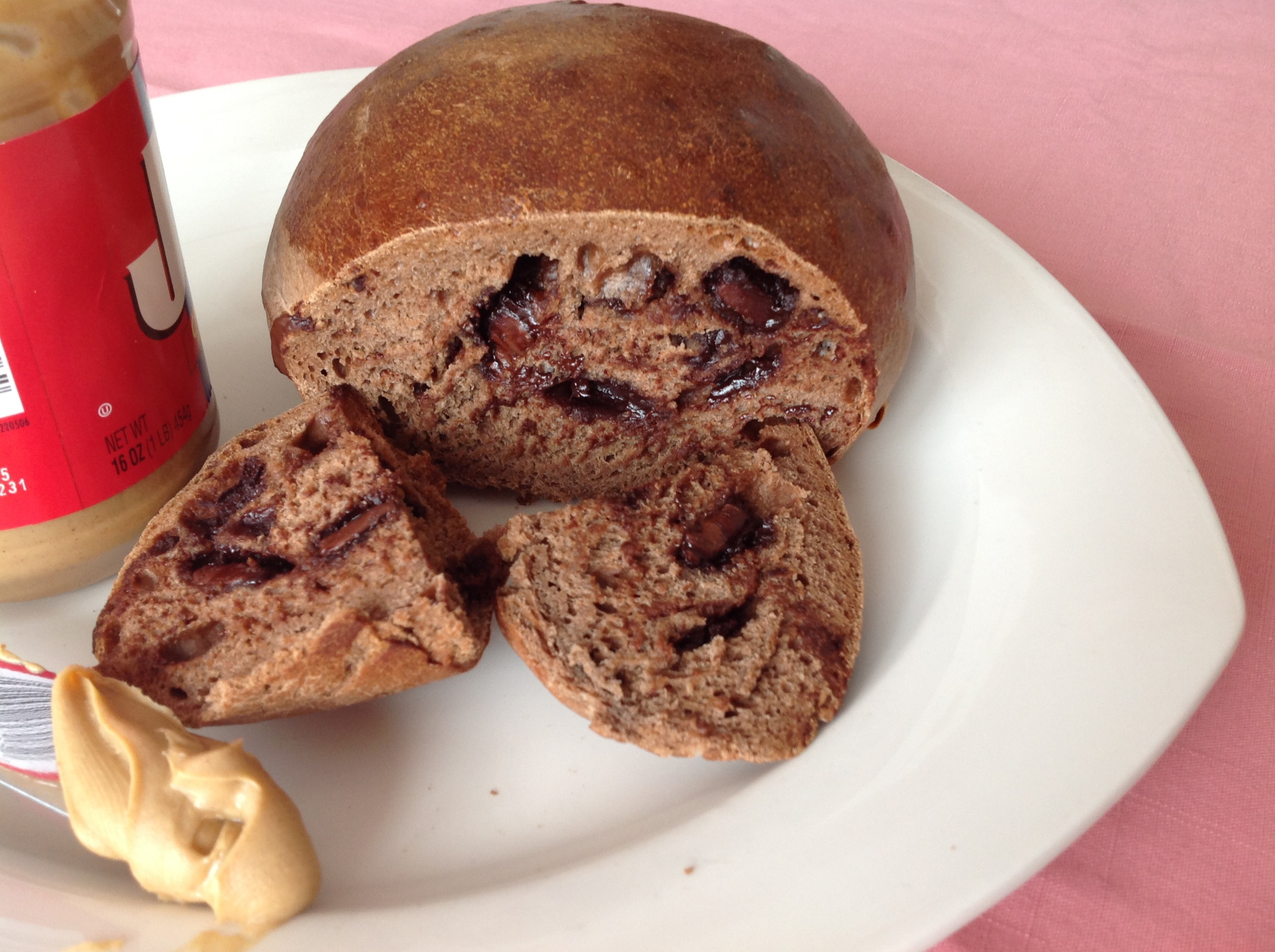 Freshly baked chocolate bread - melty chocolate chunks.  Yum!